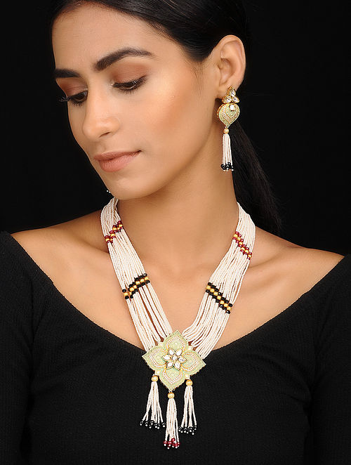 Multicolored Kundan Inspired Pearl Beaded Necklace With A Pair Of Earrings(Set of 2)