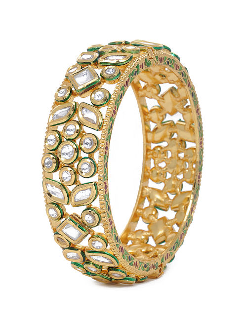 Gold Tone Kundan Inspired Layered Bangle
