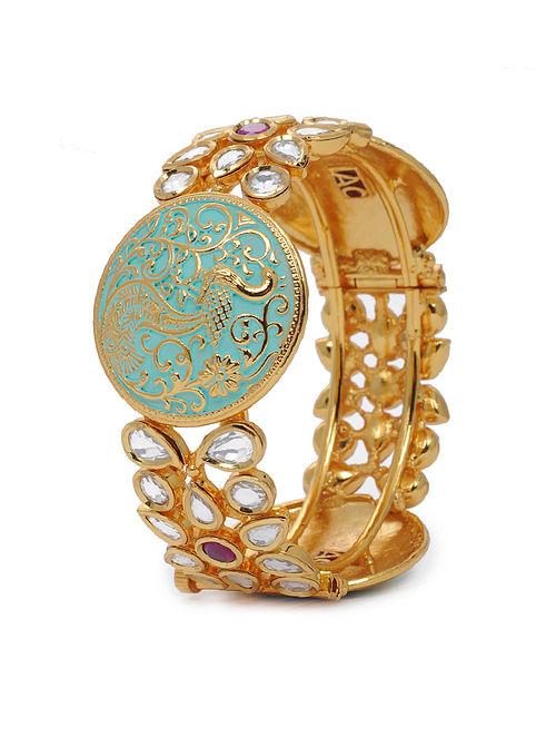 Mint Gold Tone Kundan Inspired Meenakari Layered Bangles