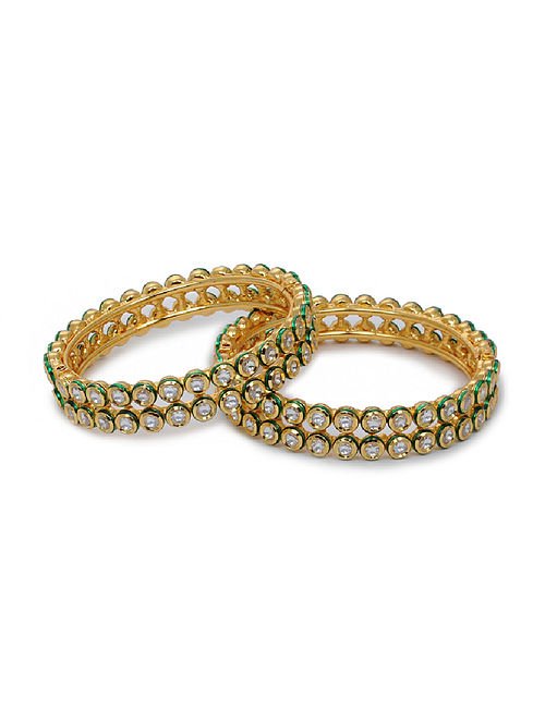 Gold Tone Kundan Inspired Bangles