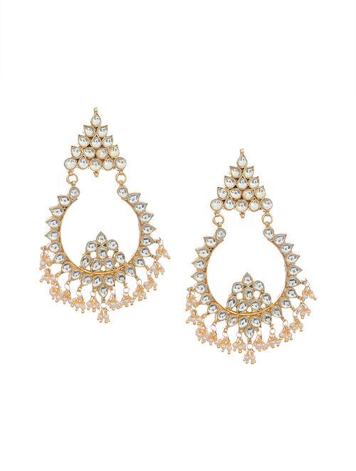 Gold Tone Kundan Inspired Chandbali Earrings
