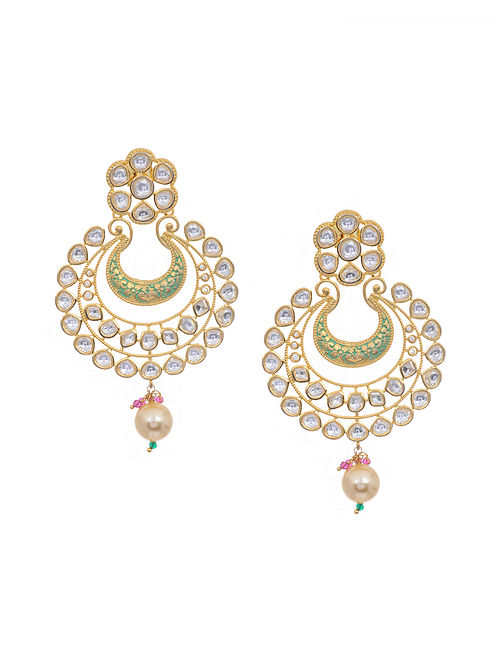 Mint Gold Tone Kundan Inspired Earrings
