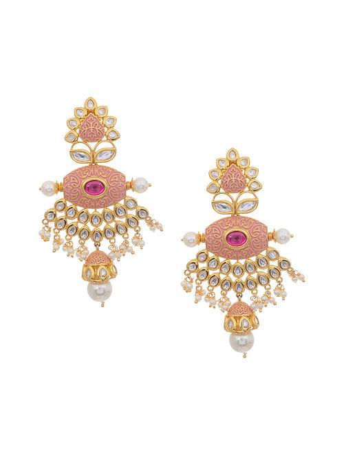Peach Gold Tone Kundan Inspired Earrings