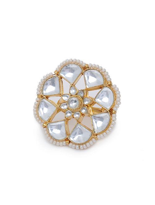 Gold Tone Kundan Inspired Pearl Beaded Ring