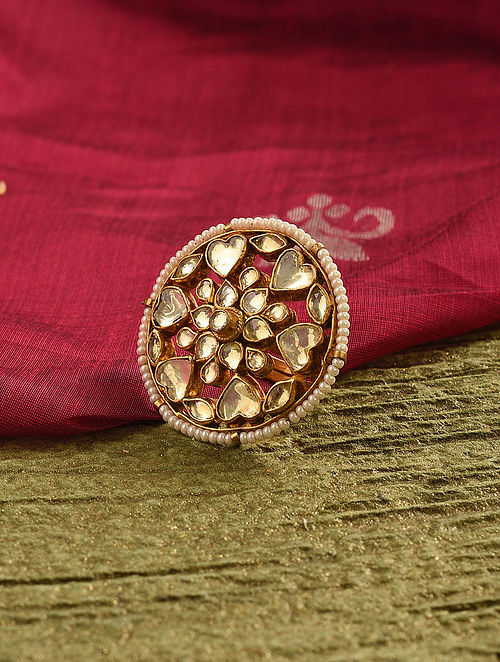 Gold Tone Kundan Beaded Ring