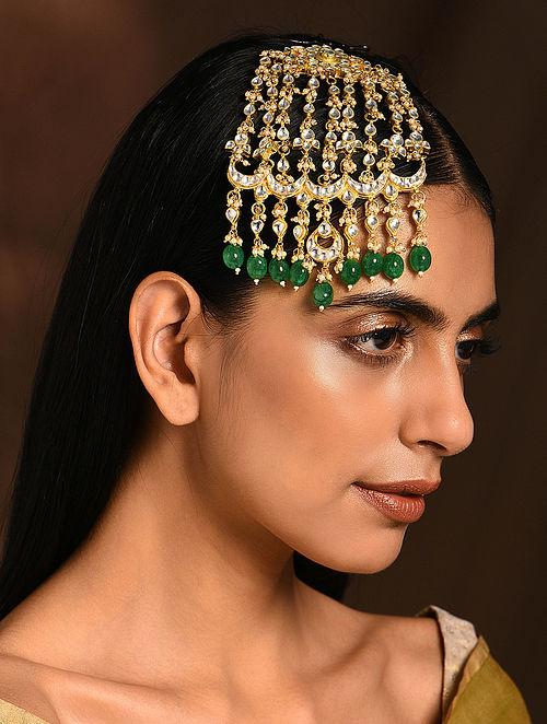 Green Gold Tone Kundan Passa
