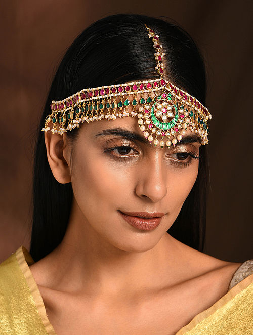 Green Pink Gold Tone Kundan Maatha Patti with Pearls