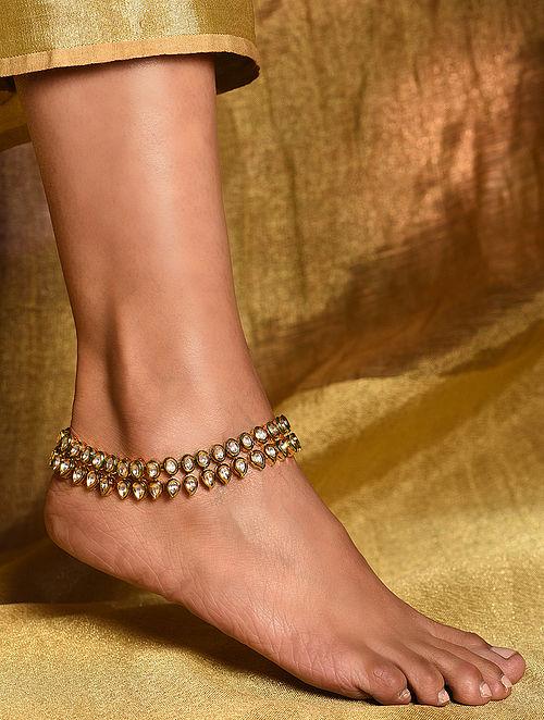 Gold Tone Kundan Anklets