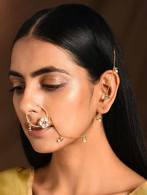 Marroon Gold Tone Kundan Nosepin with Pearls