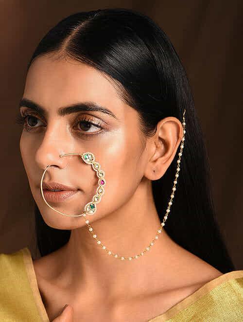 Green Pink Kundan Nosepin with Pearls