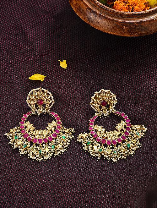 Pink Green Gold Tone Kundan Earrings