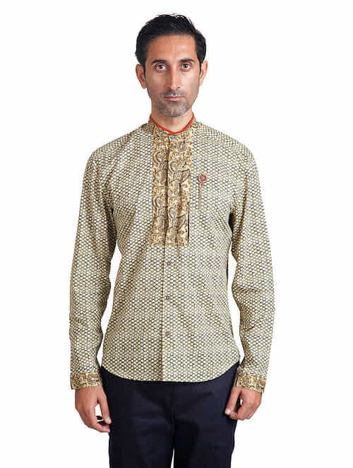 Beige-White Mandarin Collar Full Sleeve Pieced Cotton Shirt with Anti-Flip Pocket
