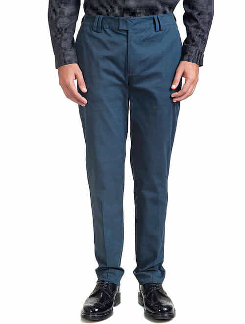 Teal Cotton Tapered Trouser
