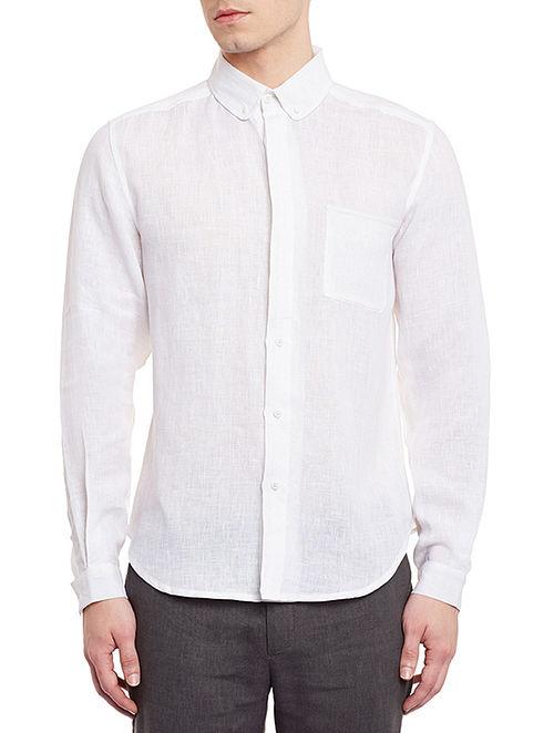 White Full Sleeve Button-Down Linen Shirt - M
