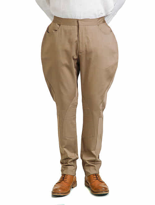 Beige Single Ikat Cotton Gabardine Jodhpur Pants