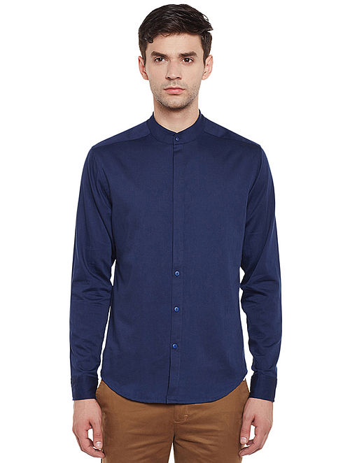 Blue Full Sleeve Cotton Slim Fit Shirt with Mandarin Collar