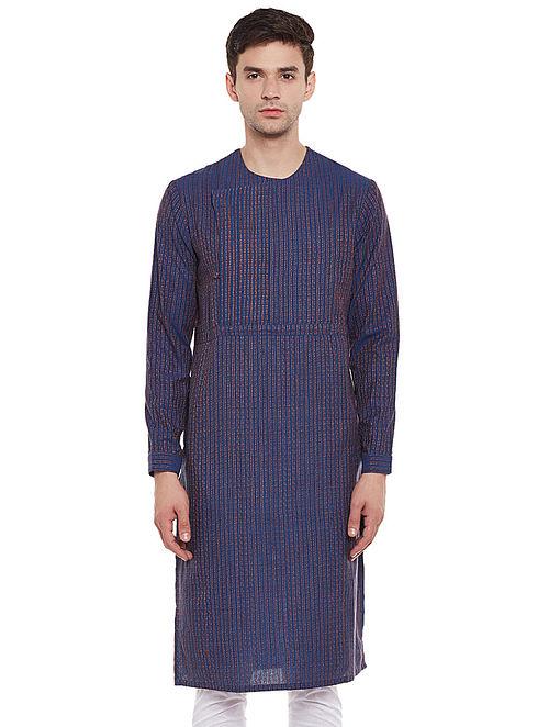 Blue Full Sleeve Kantha Stripes Cotton Kurta