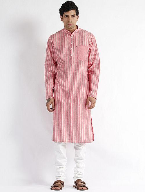 Pink Hand Woven Mangalgiri Cotton Long Kurta