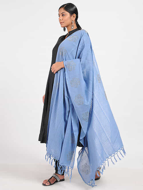 Blue Hand-embroidered Cotton Dupatta