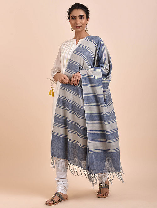 Blue-Grey Handwoven Cotton Dupatta