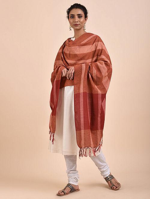 Brown-Red Handwoven Cotton Dupatta