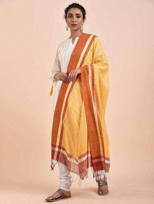 Yellow-Orange Handwoven Cotton Dupatta