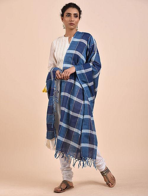Blue Handwoven Cotton Dupatta