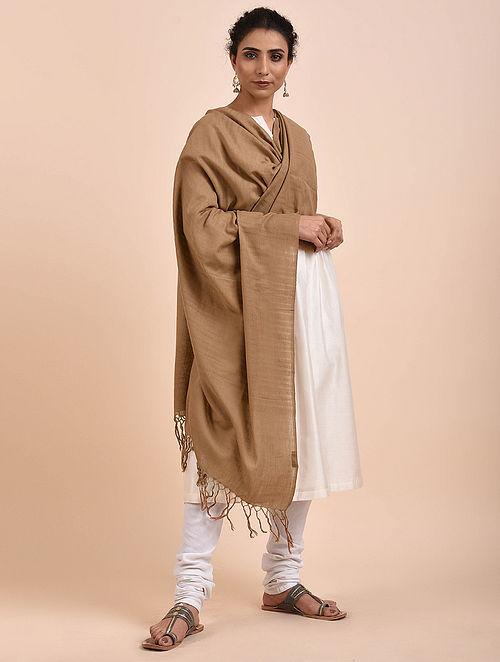 Brown Handwoven Cotton Dupatta