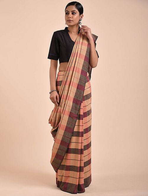 Beige-Black Handwoven Cotton Saree