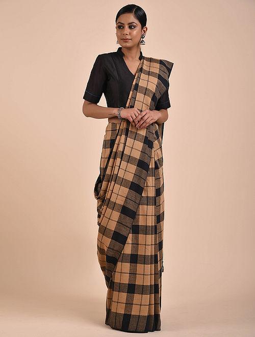 Beige-Black Handwoven Cotton Saree