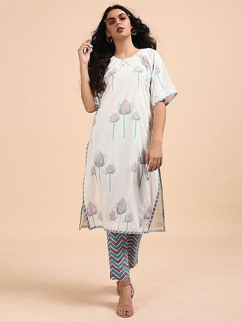 Multicolored Block-Printed Cotton Kurta with Pants (Set of 2)