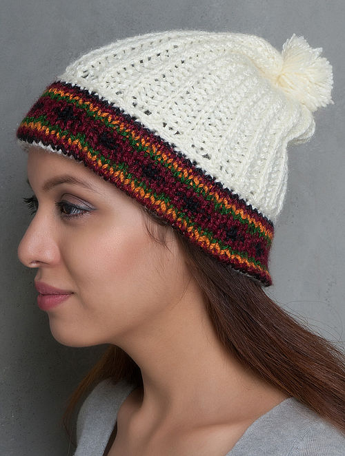 Cream-Multi-Colour Hand Knitted Beanie