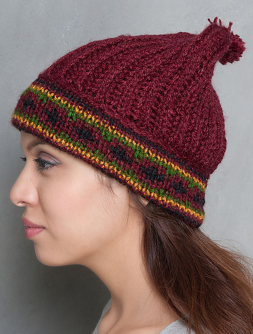 Maroon-Multi-Colour Hand Knitted Beanie