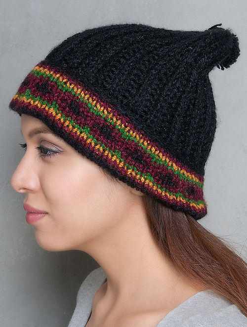 Black-Multi-Colour Hand Knitted Beanie
