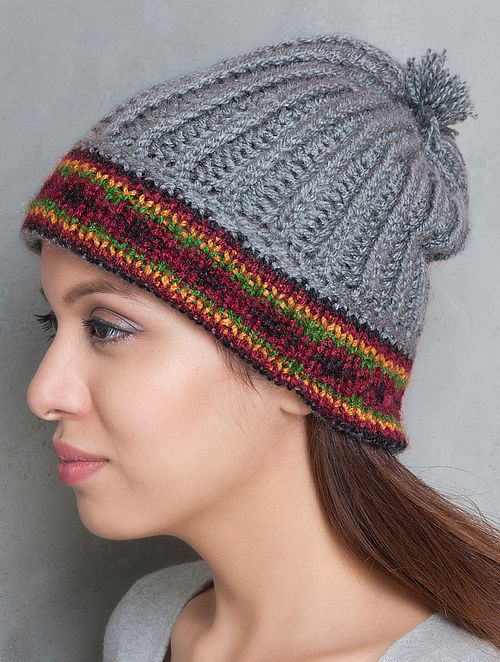Grey-Multi-Colour Hand Knitted Beanie