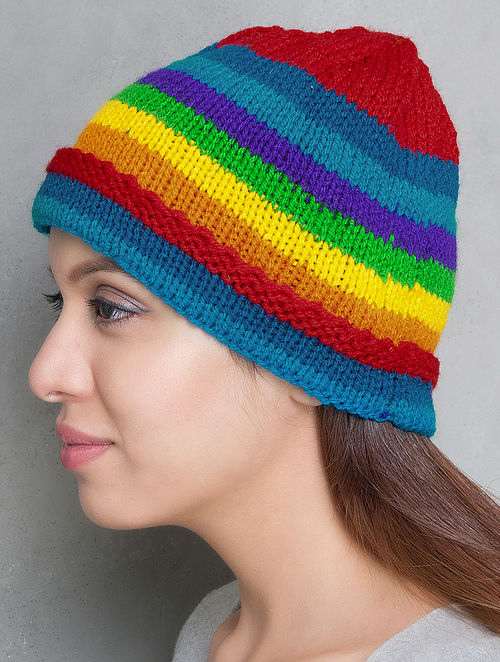 Multi-Colour Hand Knitted Cap