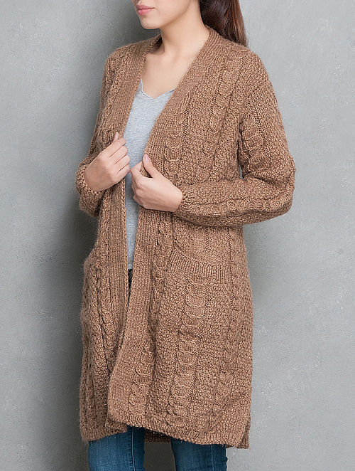 Brown Hand Knitted Long Cardigan-Free Size