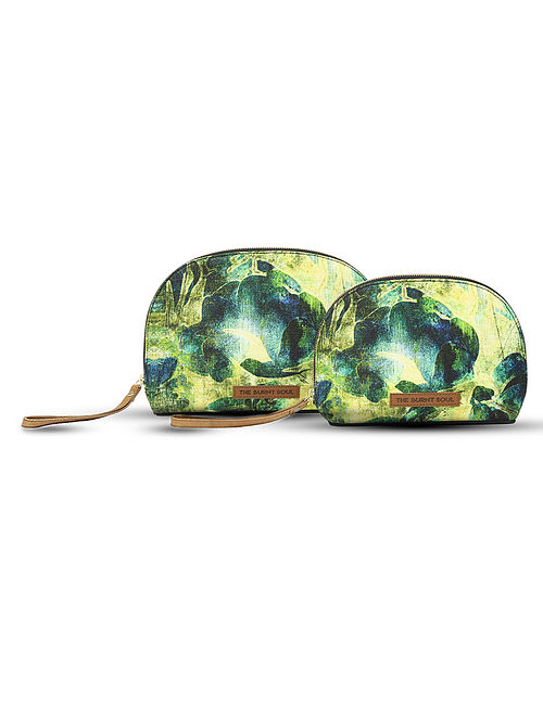 Green-Yellow Digital-Printed Canvas and Leather Pouch