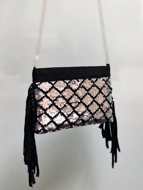 Black Silver Suede Sling Bag with Sequins