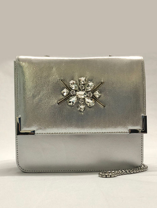 Silver Embroidered Sling Bag