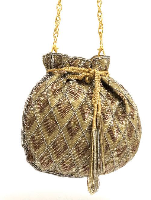 Gold Copper Handcrafted Silk Potli