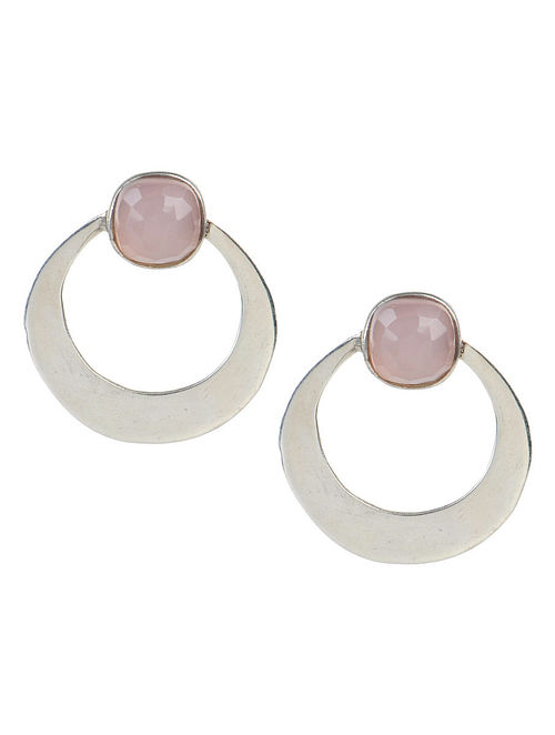 Rose Quartz Silver Earrings