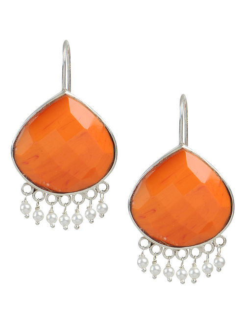 Orange Chalcedony Silver Earrings