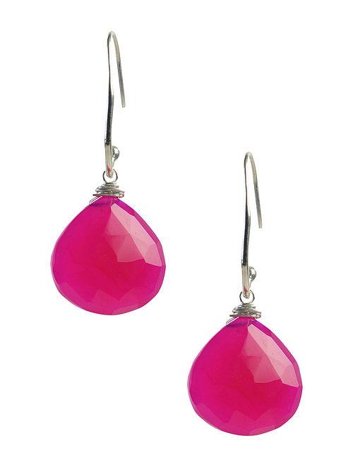 Pink Chalcedony Silver Earrings