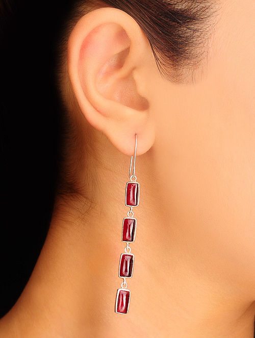 Pair of Garnet Silver Earrings