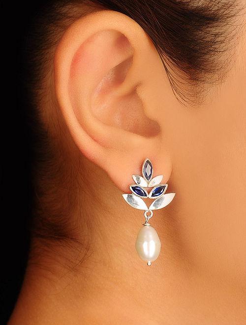 Pair of Blue Saffire-Pearl Silver Earrings