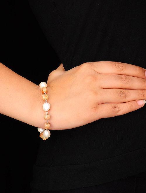 Pearl-Moonstone Silver Bracelet