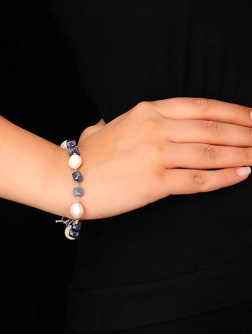 Pearl-Iolite Silver Bracelet