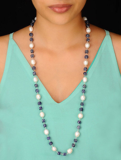 Pearl-Iolite Long Silver Necklace