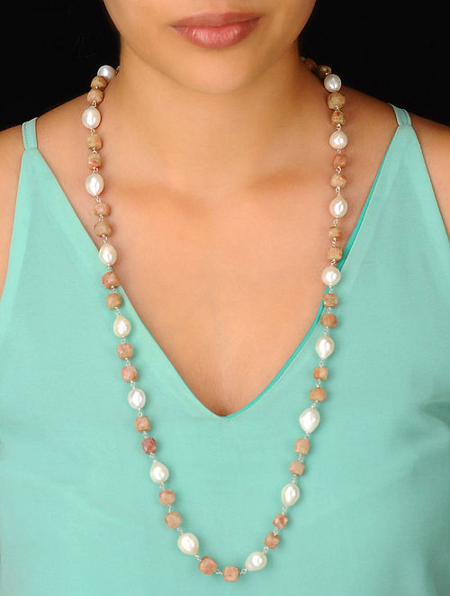 Pearl-Moonstone Long Silver Necklace